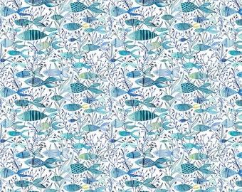 Cori Dantini - Mermaid Days - Here Fishy Fish - Blend Fabrics (112.115.07.1 Blue) - 1 Yard