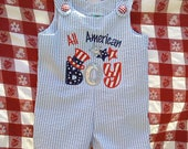 4th of July romper/ 4th of July Jon Jon/ 4th of July shortall/ patriotic romper/ Memorial Day romper/ All American Boy romper
