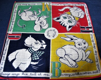Toni Lamb Hankie Kitty Mouse Cat & Dog Handkerchief Bright Cotton Print Vintage Child's Playmates Hanky C 1950s 9 in. by 9 in. with Verse M