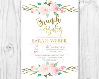 Brunch For Baby Invitation, baby girl invites, boho baby shower, pink and gold Floral invitation, gold foil, floral baby shower invitation