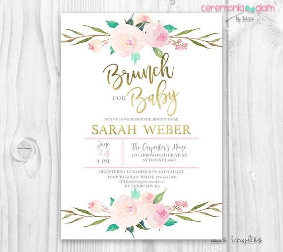 brunch for baby invitation baby girl invites boho baby, Baby shower invitations