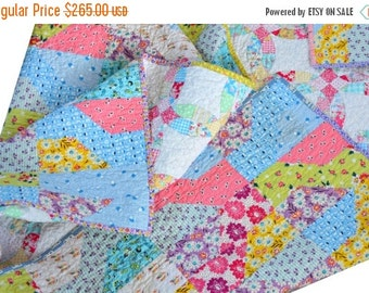 HALLOWEEN SPECIAL SALE Pink Lap Quilt - Baby Bedding - 30s Fabric