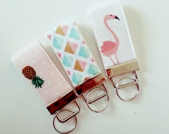 Cute Mini Key Fob  - Fabric Wristilet - VIntage Fabric
