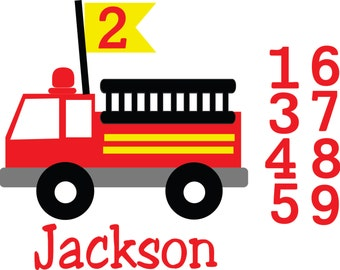Birthday Fire Truck Files .SVG/.EPS Files