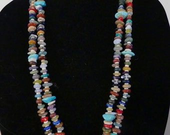 29 inch Southwestern Freeform Rondelle Double Strand Multiple Gemstone and Turquoise Necklace with Earrings