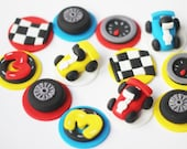Race Car Cupcake Topper Set - Transportation Cars Trucks Fondant Topper Set Things that go fondant cake topper set - Fondant Racecar Toppers