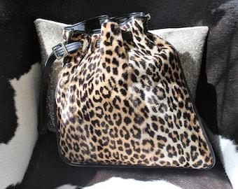 RESERVED Vintage 1960's Ronay Deadstock Faux Leopard Cinch Handbag Geometric Shape