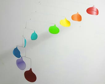 Raindrops Mobile - up-cycled recycled plastic bottles - eco home - green home decor - baby mobile - hanging mobile - kinetic mobile - mobile