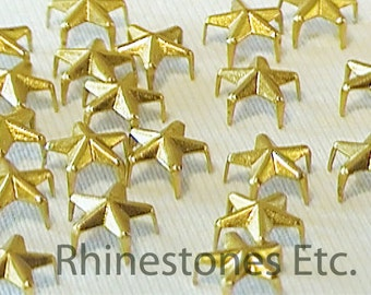 Gold 6.4 mm  Star Nailhead 5 Prong 10 pieces