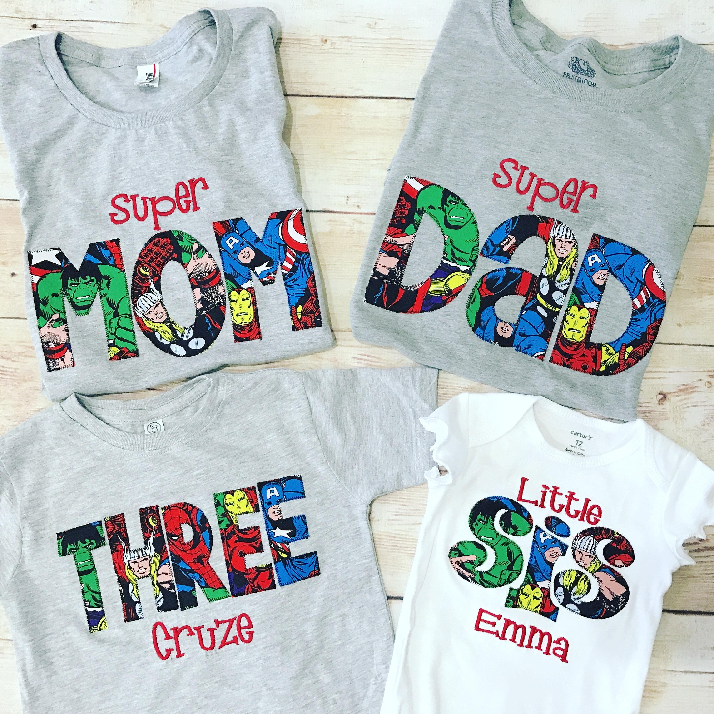 Birthday Outfit For Mom: SUPERHERO Shirt / MOM DAD Birthday Shirt / Superher Dad Shirt
