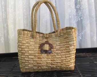 Vintage 90's small Hawaiian woven straw tote bag