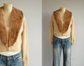 Vintage Cashmere Mink Cardigan / 1950s Beige Vanilla Cocoa Brown Cashmere Sweater with Real Mink Collar