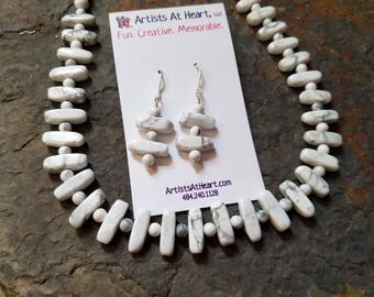 White Howlite gemstone necklace and earring set