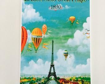 Paris art ballooning over Paris Wall Tile A4