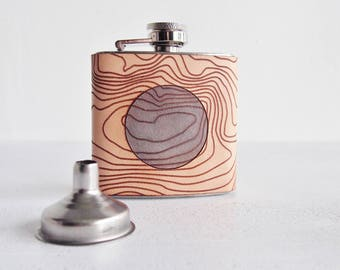 Topography Leather Flask, Ben Nevis Hip Flask, Personalised Leather Whiskey Bottle  topographic gift hiking flask mountain climbing gift