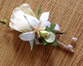 Beach Seashell Rose and Starfish Boutonniere  Any color you prefer  lots of tiny seashells