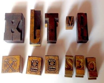 vintage lot of letter press printing blocks chi omega fraternity letters numbers wood metal
