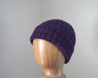 Women's Yak Hat, Royal Purple, Hand Knit Beanie Hat, Luxury Knit Cap, Chic Winter Fashion