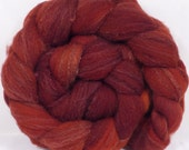 Hand dyed British Southdown/ tussah top ( 65/ 35) -Oxide - 4.7 oz.