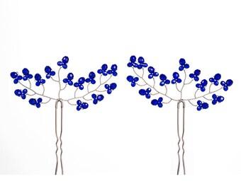 8222_Royal blue hair pins, Crystals hair pins, Blue hair pin silver, Bride romantic hair pins, Bridal hair accessory, Navy blue crystals pin