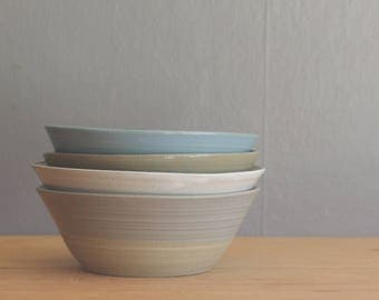 SALE ready made bowl. one bowl. various glazes on sand colored stoneware clay.  modern pottery bowl