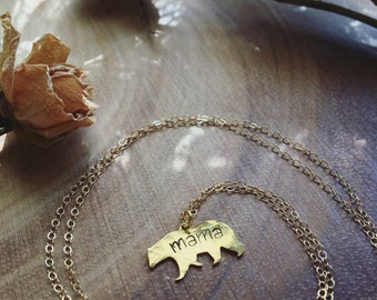 MAMA BEAR hand stamped golden 14kt bear mother necklace mom