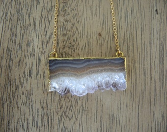 Amethyst Necklace, Amethyst Slice Druzy Necklace, 14K Gold Filled Chain Necklace, Amethyst Stalactite Necklace, Geode Necklace, Gift For Her