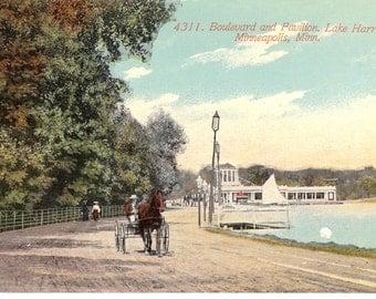 Vintage Postcards...Minnesota, Minneapolis, Boulevard and Pavilion, Lake Harriett...Unused...no. MN0002