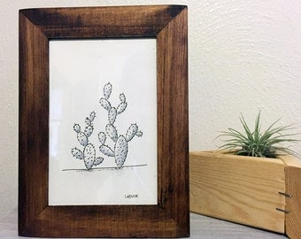 Framed House Plants. Original Cactus Drawing