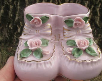 Vintage 1960s Pink Baby Booties Planter
