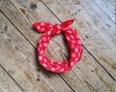 Vintage bandana scarf red neck scarves boho accessories white bohemian  floral Dolly Topsy Etsy UK