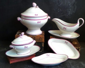 ON SALE !!!! Monogrammed French Dinnerware Set. French Porcelain Soup Tureen. Serving Dish Gravy Boat and Sauce Tureen