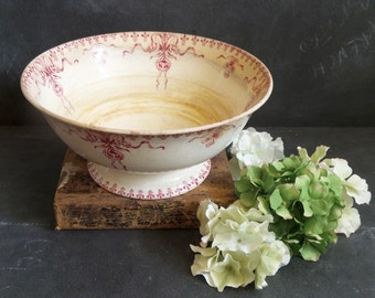 Antique French Serving Bowl .  Shabby Transferware pink Flore Large Serving Bowl Gien .