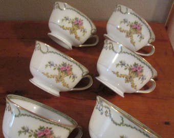 6 Noritake China (Smartnis Pattern) Cups