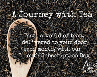 Tea Subscription Box, Organic, Free shipping, 3 month, Tea Gift Box, Tea of the Month,  Tea Gift Set, Gift for Him, Gift for Her, Thank You