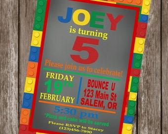 LEGO Inspired Happy Birthday or Baby Shower Happy Birthday Party Invitations - Set of 12 {1 Dozen} - Party Packs Available