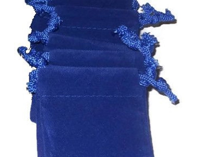 "Small velvet bags, 10pcs blue, drawstring 2 1/4"" X 2 1/4"", jewelry, wedding, rocks pouch, velveteen velour gift bag"