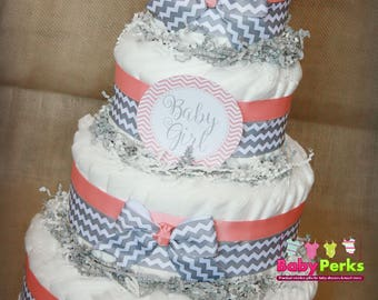 Coral Diaper Cake, baby girl  Diaper Cake, Peach, Mint and Gold Baby Shower Centerpiece