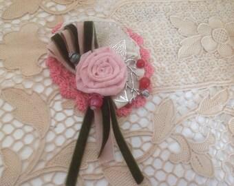 Textile fabric shabby shic boho brooch pin hand made