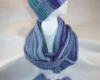 Double Wrap - Infinity Cowl, Fingerless Gloves and Hat set- Free Shipping