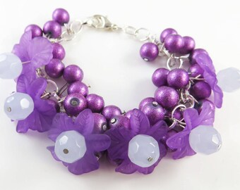 Purple flower cha cha bracelet