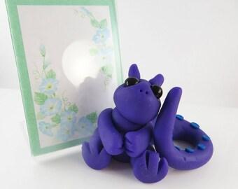 Polymer clay purple dragon photo frame