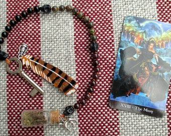 Hekate Pagan Prayer Beads with Charm Bottle