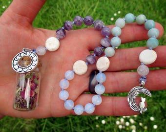 Bright Moon Magic Pagan Prayer Beads with Charm Bottle  - full moon, waxing moon, manifesting, transforming, affirming