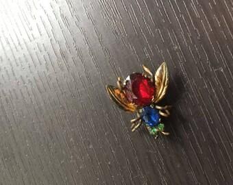 Vintage Multicolor Czechoslovakia Fly Pin