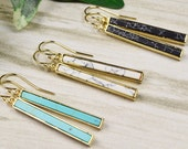 Gold Bar Earrings - Dangle Earrings for Women - Long Earrings - Gemstone Earrings - Howlite Earrings - Gold Drop Earrings  - Stone Earrings