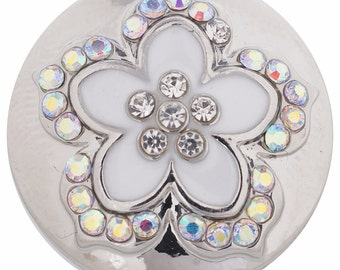 1 PC - 18MM White Flower Rhinestone Silver Charm for Candy Snap Jewelry KC8598 Cc2994