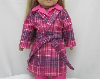"Robe and pajamas for 18"" doll ensemble for AG type dolls Birthday or Valentine gift"