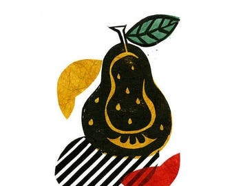 Pear Pop Linocut Print & Chine-collé 3 of 10 (pear design 1)