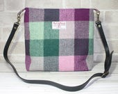 HARRIS TWEED bag, crossbody bag, Tweed purse, red/grey Tartan pattern